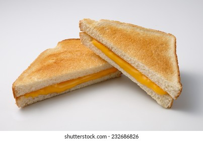 Toasted sandwich cheese on white background