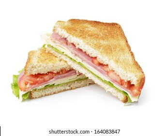 toasted sandwich with ham, cheese and vegetables, isolated