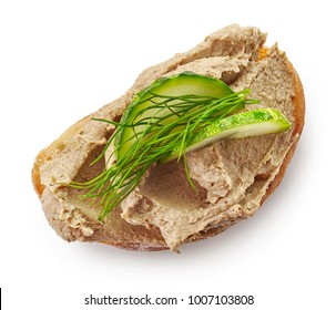 toasted sandwich with meat pate and cucumber isolated on white background, top view