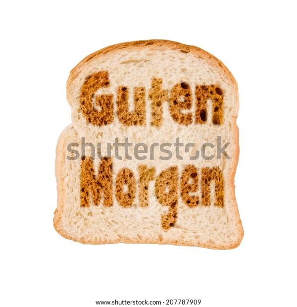 Toasted Slice Bread Guten Morgen Meaning Stock Photo Edit