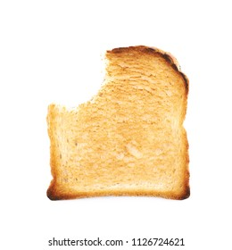 Toasted white bread with the bite taken of it, composition isolated over the white background