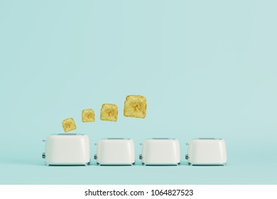 toaster with bread on blue pastel background. minimal style concept.