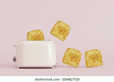toaster with bread on pink pastel background. minimal style concept.