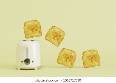 toaster with bread on yellow pastel background. minimal style concept.