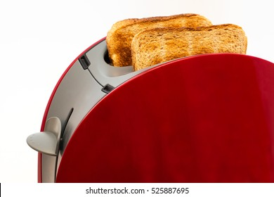 Toaster with toasted  bread isolated on white background, Kitchen equipment. Close up. Side view.