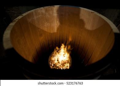 Toasting an Oak Barrel, Medoc ,Aquitaine, France