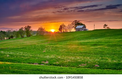 Tobacco Barn with Green  Fiield at Sunset