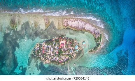 Tobacco Caye aerial in Belize barrier reef