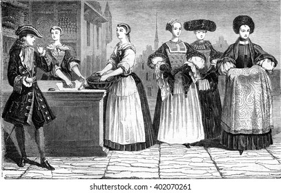 Tobacco market, Dress suit and godmother, vintage engraved illustration. Magasin Pittoresque 1847.