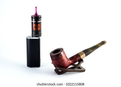 Tobacco pipe and electronic cigarette on white background.