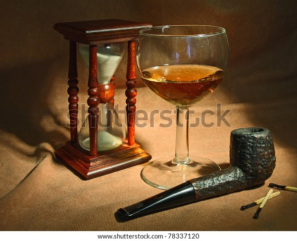 Tobacco Pipe Glass Whiskey Sand Glass Stock Photo (Edit Now) 78337120