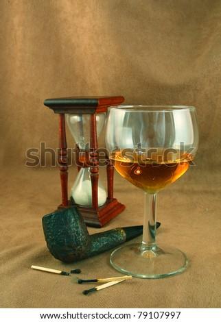 Tobacco Pipe Glass Whiskey Sandglass Stock Photo (Edit Now) 79107997