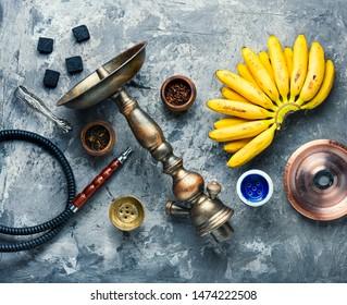 Tobacco shisha with banana flavor.Nargile with banana.Fruit exotic hookah tobacco
