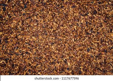 Tobacco texture. High quality dry cut tobacco  big leaf, macro close up
