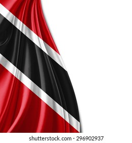 Tobago  flag  of silk with copyspace for your text or images and white background