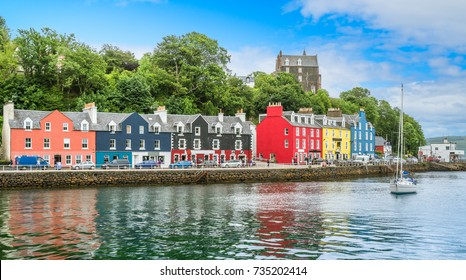 Tobermory in a summer day, capital of the Isle of Mull in the Scottish Inner Hebrides.