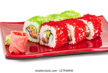 Tobiko Spicy Maki Sushi - Hot Roll with various type of Tobiko (flying fish roe) outside and salmon inside