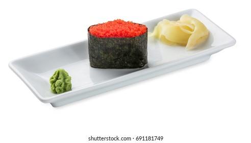 Tobiko sushi plate isolated on white background