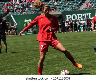 Tobin Heath  midfielder for the Portland Thorns at Providence Park in Portland Oregon USA May 12,2018.