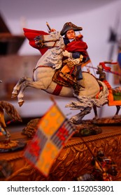 TOBLACH, ITALY - AUG 1, 2018 - Miniature of Napoleon Buonaparte in a shop in Toblach, Italy