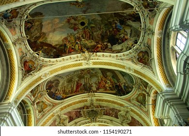 TOBLACH, ITALY - AUG 1, 2018 - Interior of the baroque village church of Toblach, Italy