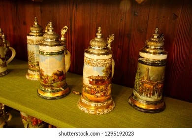 TOBLACH, ITALY - AUG 1, 2018 - Embossed beer steins in a shop in Toblach, Italy