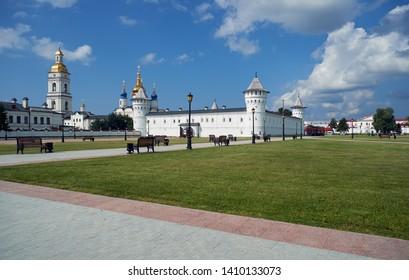 Tobolsk Kremlin - the sole stone kremlin in Siberia, as seen from the Red square. Tobolsk. Tyumen Oblast. Russia