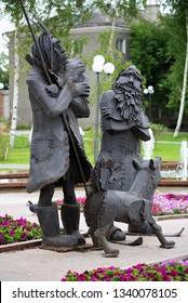 TOBOLSK, RUSSIA - JULY 30, 2008: Monument to Robinson Crusoe, Friday and dog Laika. The monument to the heroes of the novels by Daniel Defoe was unveiled in 2007.