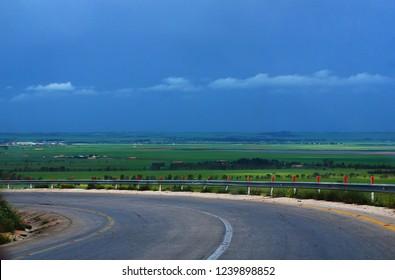 The Tobruk Road to Benghazi passes through the green fields of Al Marj. Al Marj, Libya, April 6, 2011.