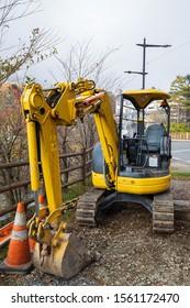Tochigi, Japan - November 1, 2019 : excavator on construction site