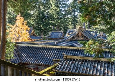TOCHIGI, JAPAN - NOVEMBER 15, 2018: roof of Gohonsha, the main shrine of Toshogu Shrine  at Nikko, Tochigi Prefecture, Japan