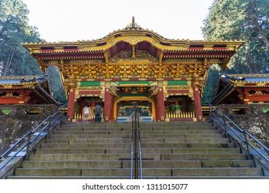 TOCHIGI, JAPAN - NOVEMBER 15, 2018: Day scene of Beautiful wood carving gate of Taiyuin temple at Nikko, Tochigi Prefecture, Japan