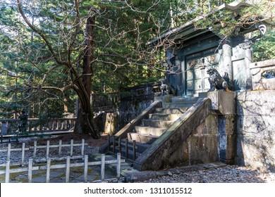 TOCHIGI, JAPAN - NOVEMBER 15, 2018: Day scene of the inner shrine of Toshogu Shrine  at Nikko, Tochigi Prefecture, Japan