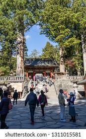 TOCHIGI, JAPAN - NOVEMBER 15, 2018: Day scene of Omotemon, Front Gate of Toshogu Shrine  at Nikko, Tochigi Prefecture, Japan