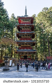 TOCHIGI, JAPAN - NOVEMBER 15, 2018: Day scene of Gojunoto, Five-Story Pagoda in Toshogu Shrine  at Nikko, Tochigi Prefecture, Japan