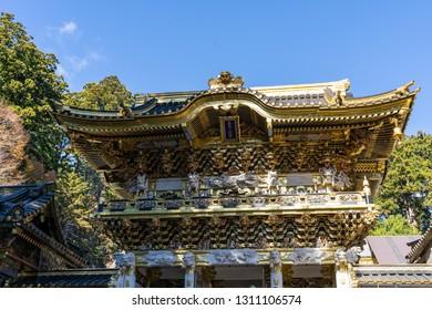 TOCHIGI, JAPAN - NOVEMBER 15, 2018: Day scene of Yomeimon Gate in Toshogu Shrine  at Nikko, Tochigi Prefecture, Japan