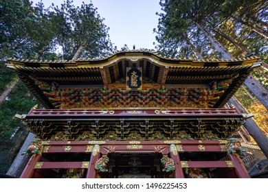 TOCHIGI, JAPAN - NOVEMBER 15, 2018: Day scene of Beautiful wood carving gate of Taiyuin temple at Nikko, Tochigi Prefecture, Japan