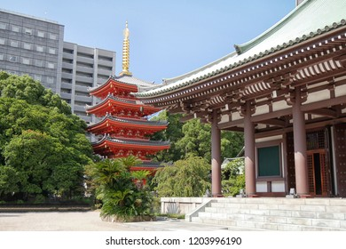 Tochoji Temple and five storied pagoda in  in Hakata, Fukuoka, Japan