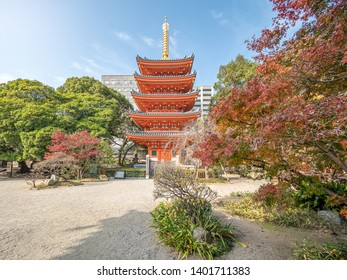 Tochoji Temple with red leaves in autumn season in  Hakata City of Kyushu, Japan.