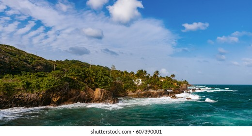 Toco Trinidad and Tobago West Indies rough sea beach panorama
