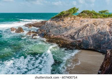 Toco Trinidad and Tobago West Indies rough sea beach cliff edge panorama
