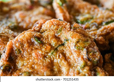 Tod Man Pla  , Thai Fried Fish Cakes - close up , macro