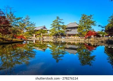 Todai-ji temple in autumn, Nara, Japan.