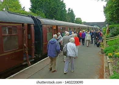 Toddington, Gloucestershire, UK, May 19th 2019, Gloucestershire Warwickshire Steam Railway, passengers boarding the train to Cheltenham Race Course at Platform Two.