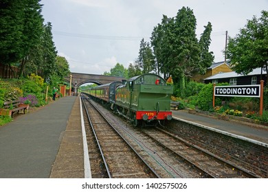 Toddington, Gloucestershire, UK, May 19th 2019, Gloucestershire Warwickshire Steam Railway, GWR 42 XX class no 4270 arriving at Platform two before going South to Cheltenham Race Course.