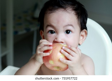 Toddler Asian boy enjoy eating his big apple.Yummy and fun.Fruit contains essential vitamins and minerals that keep your child healthy.