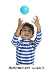 Toddler attempting to catch a Ball, Isolated, White