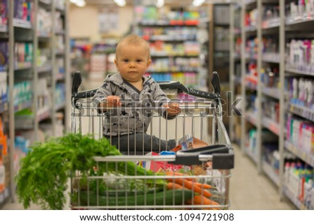 77a611017 Toddler Baby Boy Sitting Shopping Cart Stock Photo (Edit Now ...