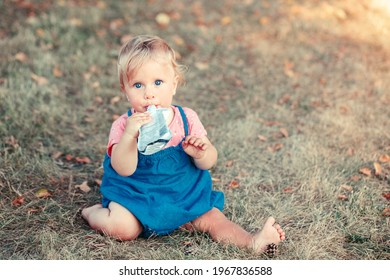 Toddler baby eating baby food organic vegetable fruit puree from pouch. Supplementary solid healthy food meal snack for babies kids. Girl eating outdoor in park on summer day.