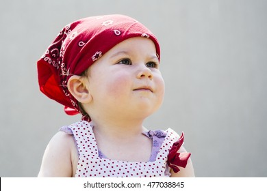 Toddler with bandana